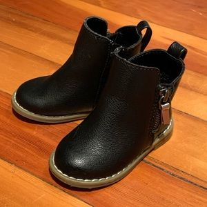 Black leather booties from the GAP